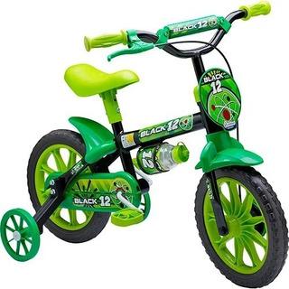 Bicicleta Bicicletinha Infantil Menino Nathor Black Aro12