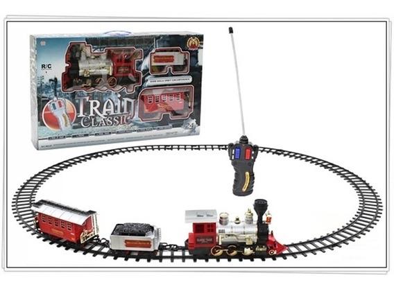 Ferrorama Com Controle Remoto Locomotiva Grande 24 Pç Fumaça