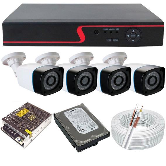 Kit Cftv 4 Câmeras Segurança Hd 720p Dvr Multi Hd 4ch P2p