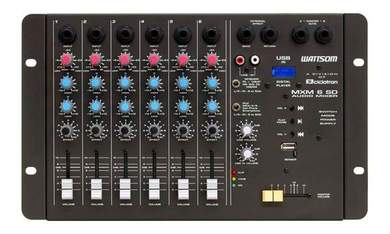 Mesa De Som 6 Canais P10 Desbalanceados C/ Usb Play / 1 Aux