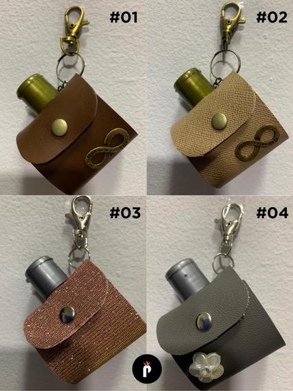 Kit 10 Chaveiros Com Capinhas + Frasco De Álcool Em Gel 40ml