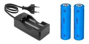 1 Carregador Duplo + 2 Bateria 18650 3.7v / 4.2v Lanterna