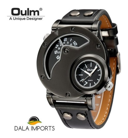 Relógio Masculino Militar Oulm 9591 Grande Couro * Brinde *
