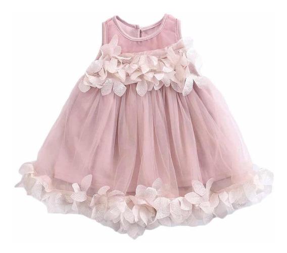 Vestido Niñas Color Palo De Rosa, Tallas: 1-2-3-6 Años.