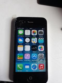Celular iPhone 4 8gb Tela Trincada Tampa Traseira Também 100