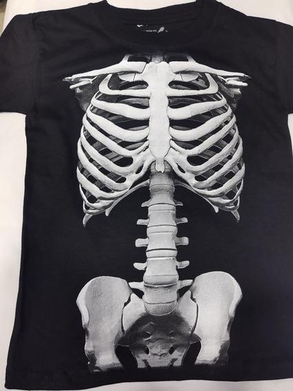 Playera De Esqueleto Para Niño Estampada Brilla En La Noche