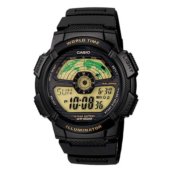 Relógio Casio Masculino World Time Ae-1100w-1bvdf