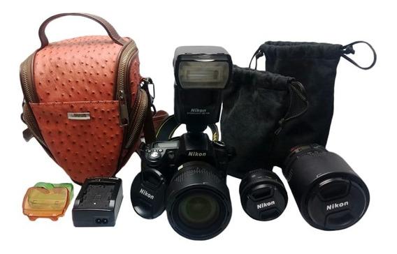Kit Câmera Nikon D90 + 03 Lentes E Case De Brinde