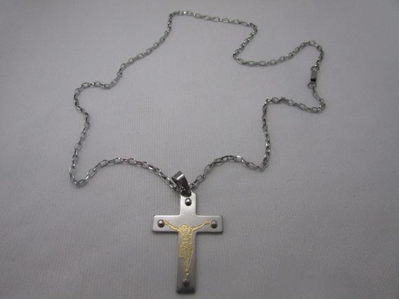 Corrente Com Pingente Jesus Dourado Na Cruz (inox)