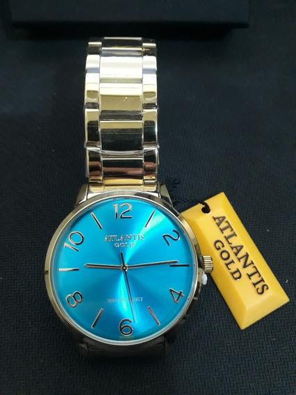 Relogio Feminino Atlantis G3507 Dourado Fundo Azul