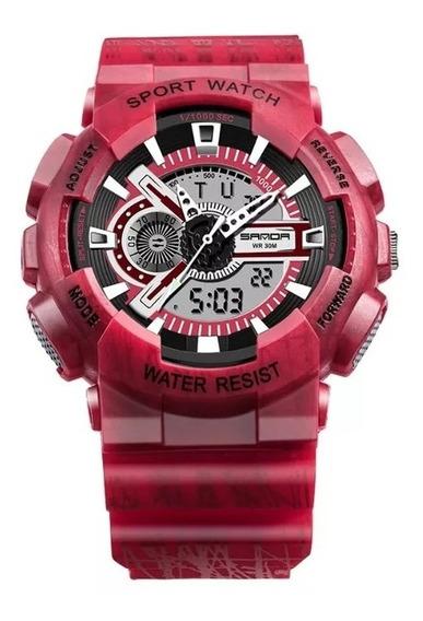 Relógio Sanda Militar Camuflado Shock - Sa799l