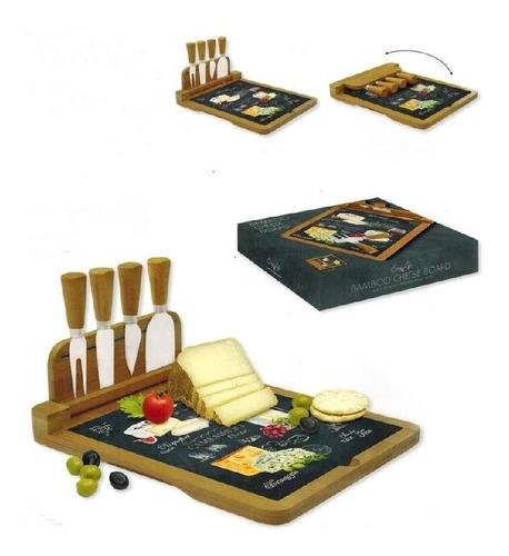 Tabla De Bamboo Para Quesos Modelo World Of Cheese 816 Con 4