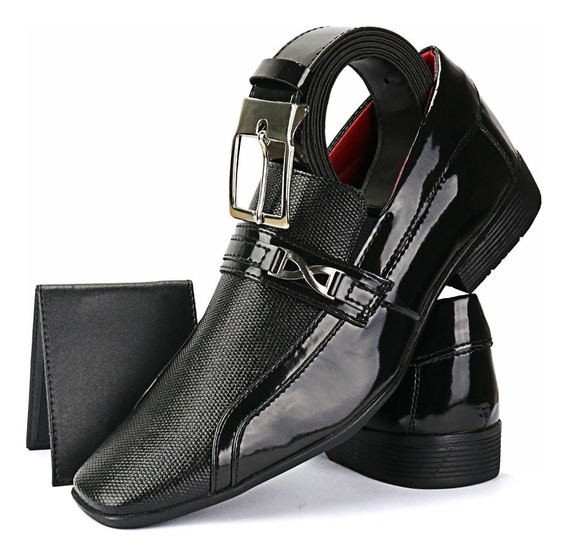 Sapato Social Envernizado Preto+cinto+carteira Sapatofran