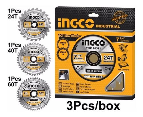 Ff Set 3 Disco Sierra Circular 7 1/4 De 24, 40, 60 Dte Ingco
