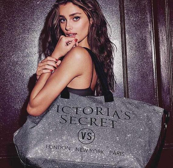 Cartera Bolso Victorias Secrett Silver Glitter Tote