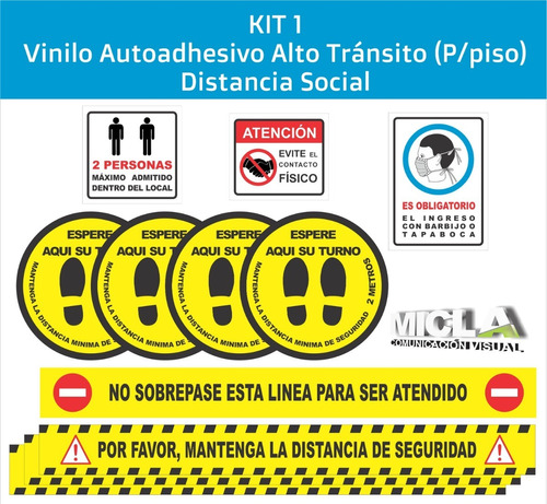 Calcos Para Piso Distanciamiento Social Kit 1