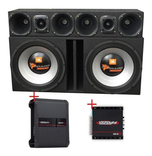 Caixa Jbl 2 15swt3000 + Corneteira + Módulos Soundigital