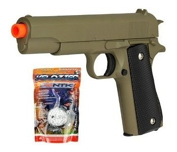 Pistola Airsoft Spring Cybergun Tan Colt 1911 6mm + Esferas