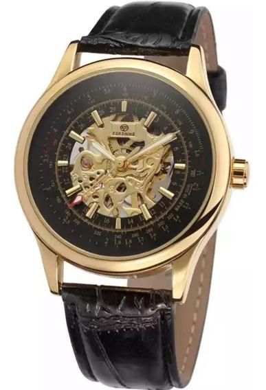 Relógio Dourado Importado Forsining Automático Super Oferta