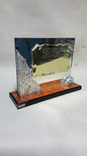 Trofeo Conmemorativo En Espejo Marmolia Y Bronce
