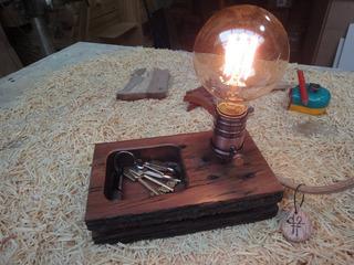 Velador Vintage Con Madera Y Lampara Edison
