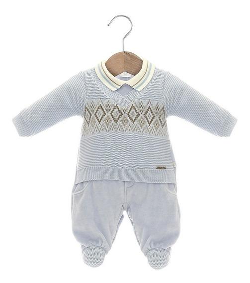 Roupa De Bebê Menino Macacão Tricot Azul Claro Beth Bebê