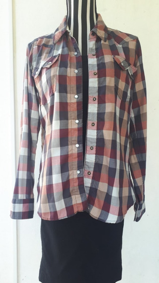 Camisa De Mujer,mangas Largas, A Cuadros, Cook, Talle: 44.