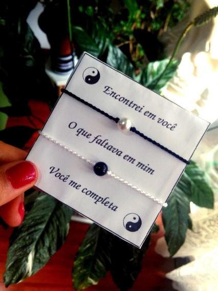 Par De Pulseiras Casal Yin Yang Conjunto Com Embalagem