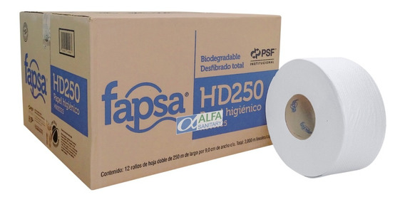 Papel Higienico Fapsa Hd250 Hoja Doble 12 Rollos De 250mt