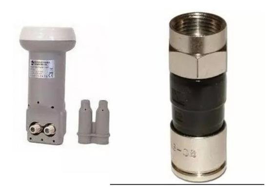 2 Lnb Duplo Universal E 8 Conectores Rg6 De Compressão