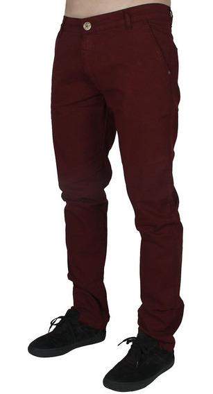 Calça Jeans Masculina Vinho Bivik Colorida Com Elastano