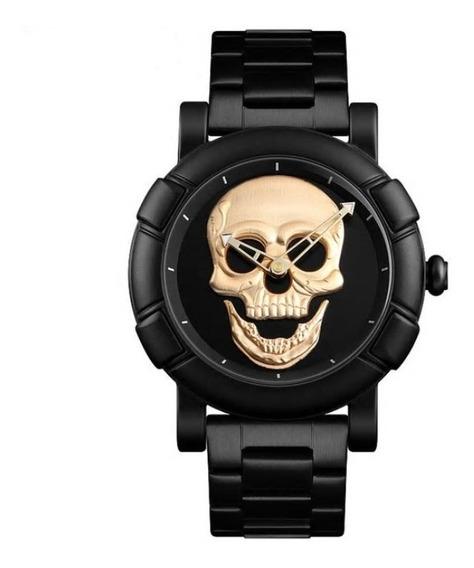 Relógio Masculino Luxo Caveira Aço In Prova D