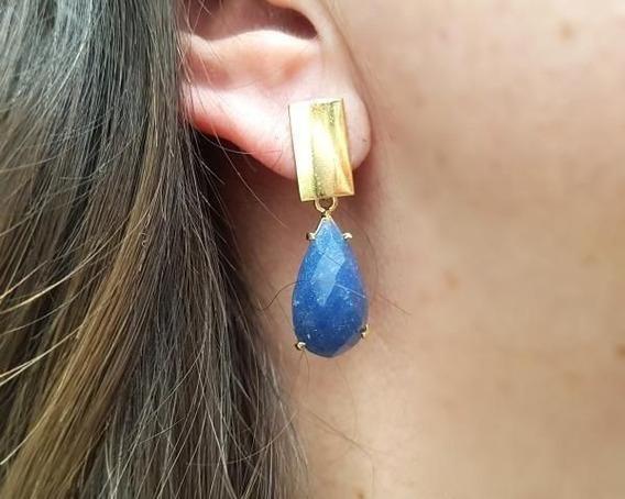 Brincos De Pedra Quartzo Azul - Equilibra O Emocional