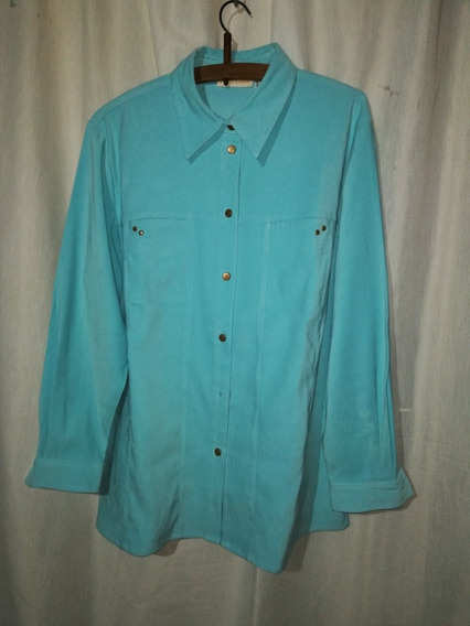 Camisa Mujer Verde Agua Talle 18/xxl, Impecable
