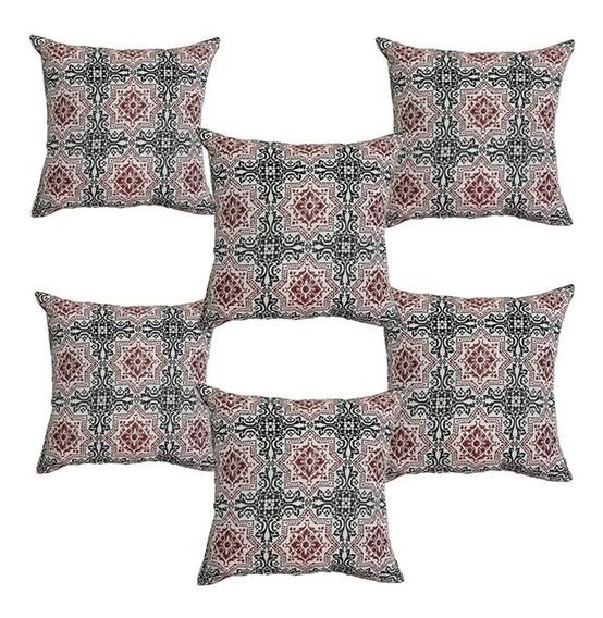 6 Cojines Decorativos Rojo Mandala Estrella Mosaico Geo Sala