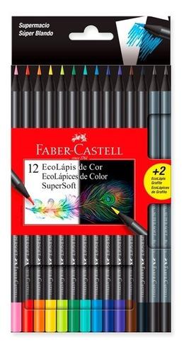 Imagen 1 de 7 de Lápices Faber Castell Supersoft X12 Colores + 2 De Regalo