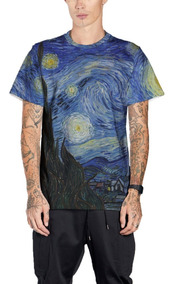 Camiseta Van Gogh A Noite Estrelada Estampada Completa Mt