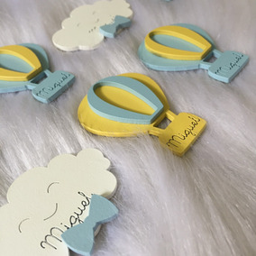 50 Chaveiros Balão Nuvem Com Nome Lembrança Festa Mdf Bebe
