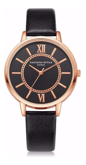 Relógio Rosê Feminino Pulseira Preto Rg006f Promoção!!!