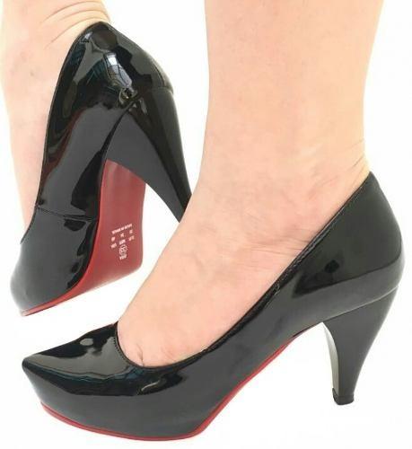 Sapato Feminino Preto Verniz Salto Médio Grosso Festa Lindo