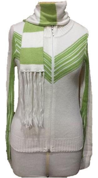 Casaquinho De Trico Lazinha Branco/verde Com Cachecol !!!