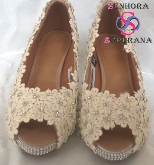 Sapato Peep Toe Florado Off White (formatura)(noivas)