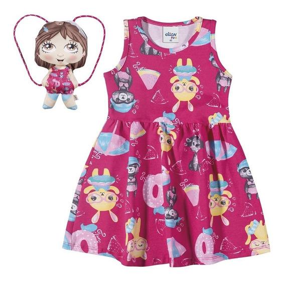 Vestido Infantil Feminino Elian Boneca C/ Bolsa Mochila Luxo