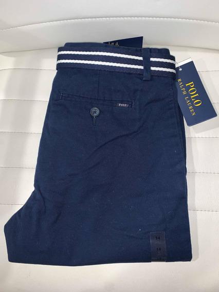 Pantalon Polo Ralph Lauren Navy Talla 14 Stretch Original