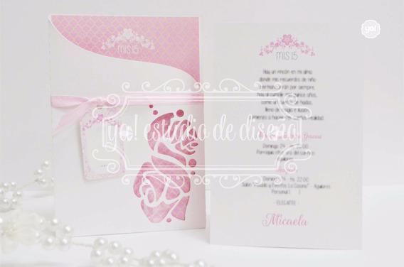 Tarjetas De Invitación 15 Años Caladas Rosas X3 Unidades