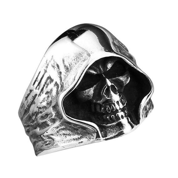 Anel Aço Inox Caveira Punk Moto Metal Diabo