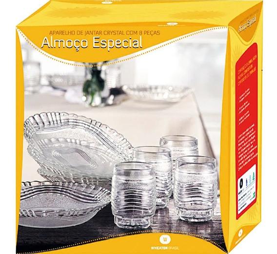 Aparelho De Jantar 8 Peças De Vidro Cristal Almoço Especial Wheaton