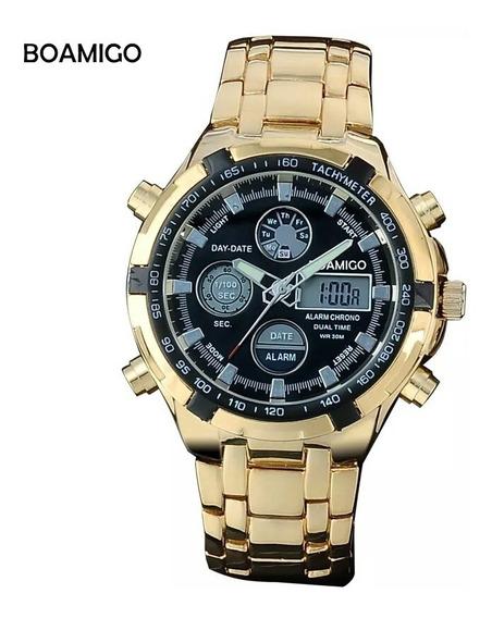 Relógio Boamigo Amuda Banhado Ouro Dourado Com Caixa Incluso