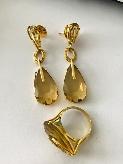 Conjunto-anel-brincos-ouro 18k-22gr.aro 21- C/brilhantes E P