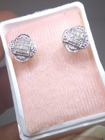 Broqueles Oro Blanco 14k Con Diamantes Naturales